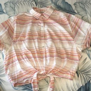 Stripped Front Tying Shirt